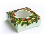 Новогодняя кашированная коробка с окошком